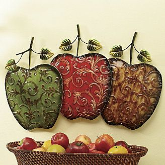 Hand painted apples wall art from ginny 39 s kitchen for Red apple decorations for the kitchen
