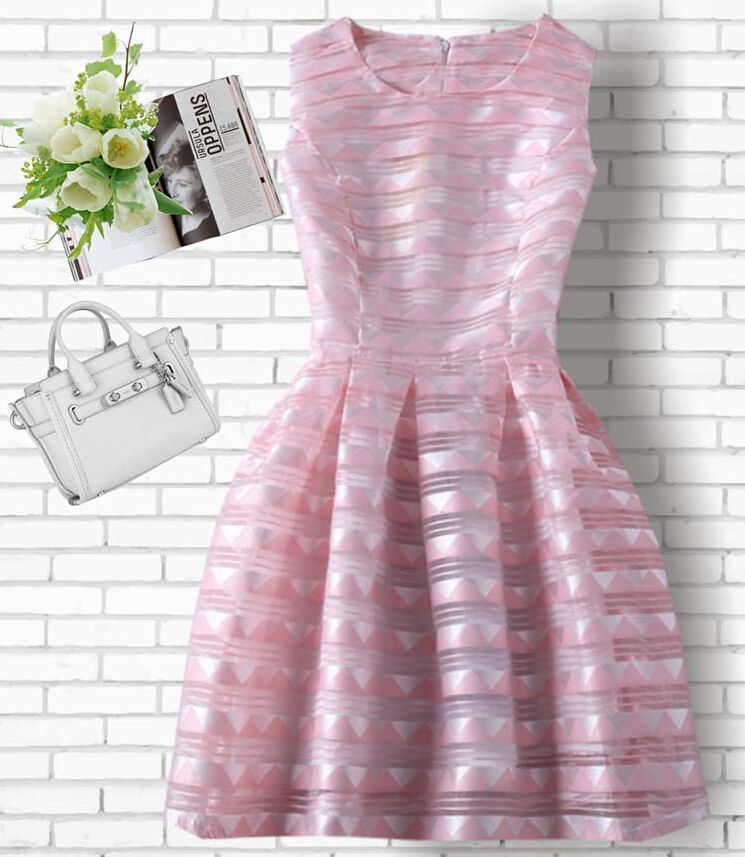 Fashion printed organza sleeveless vest dress VC40909MN