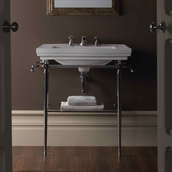 Canterbury sink tap warrington deco 640mm console basin for Pedestal sink with metal legs