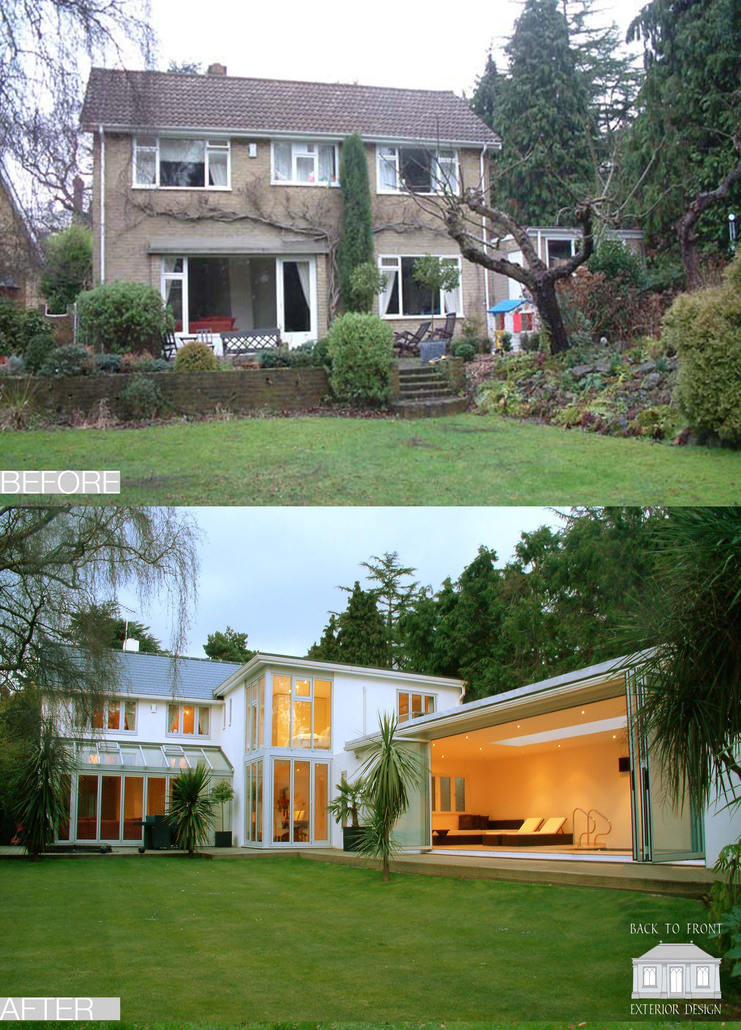 1960 S Before And After Remodelling Project In Guildford Surrey By Back To Front Exterior: 1960's Exterior Transformation By Back To Front Exterior Design