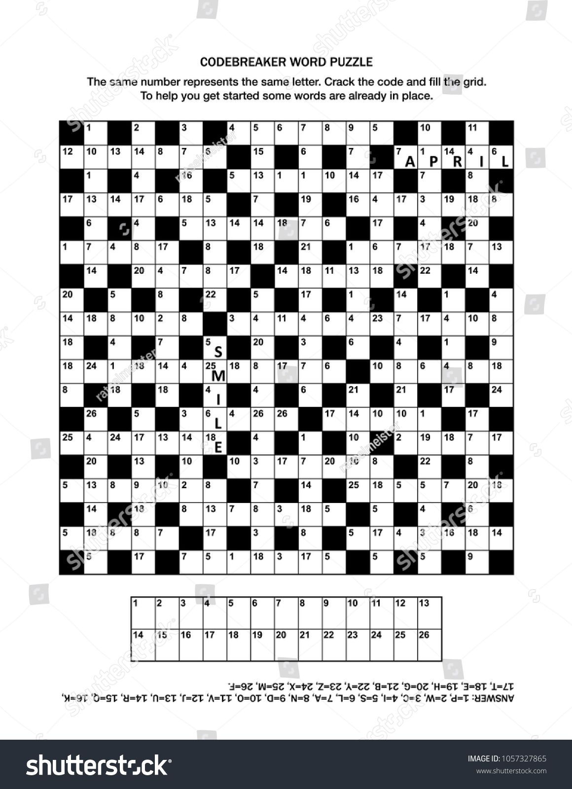 Puzzle page with codebreaker (codeword, code cracker) word