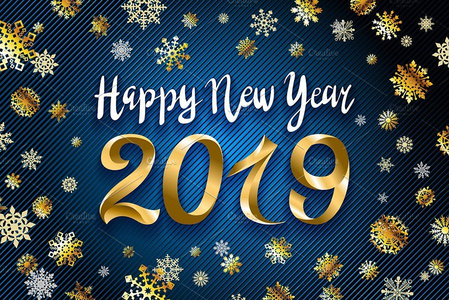 vector gold Happy New Year 2019 snow #greeting#design#illustration