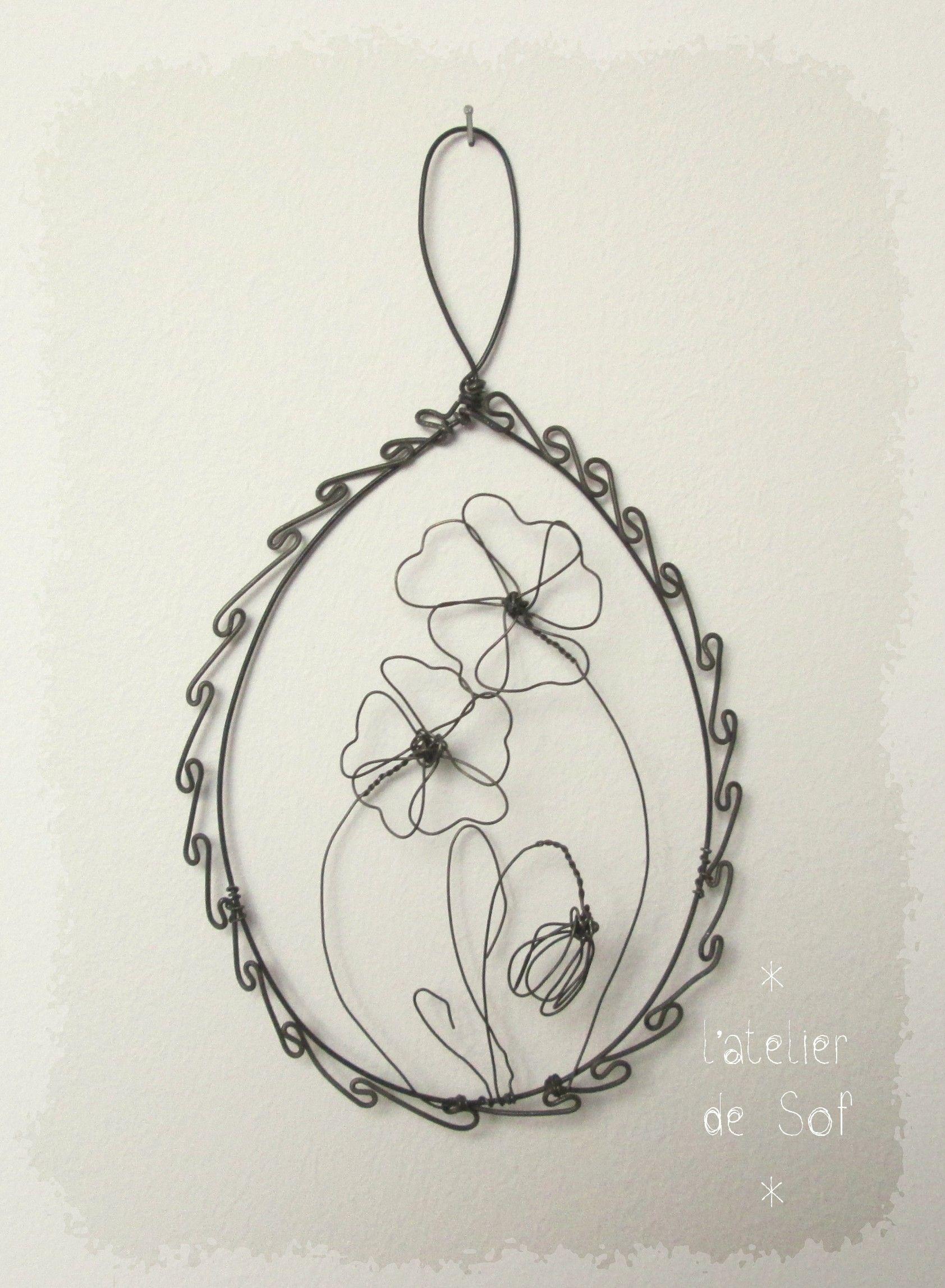 m daillon fleurs fil fer recuit by latelierdesof annealed steel wire art by. Black Bedroom Furniture Sets. Home Design Ideas