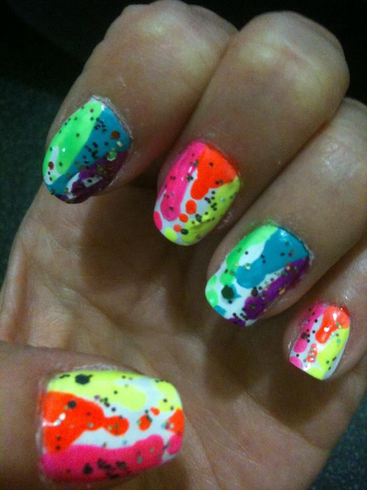 Neon Nail Art Design Inspired By Robin Moses Neon Nails