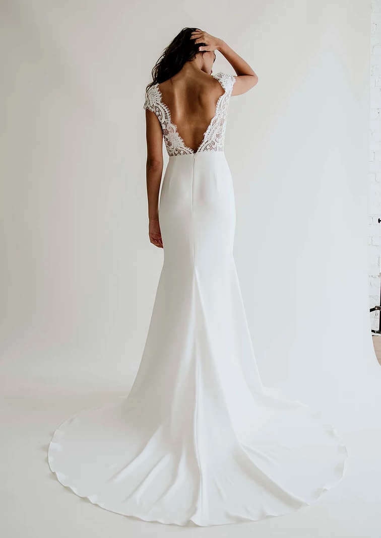 Anais Anette Annalise Form Fitting Wedding Dress Straight Wedding Dresses Fitted Wedding Dress
