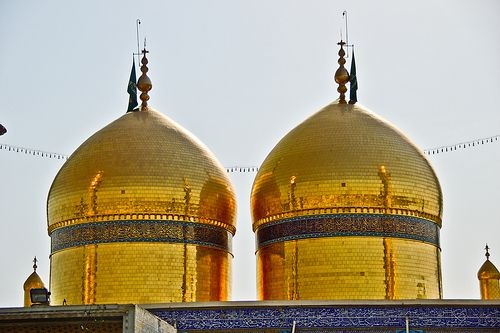 The golden domes of the shrine of Imam Musa al-Kadhim and ...