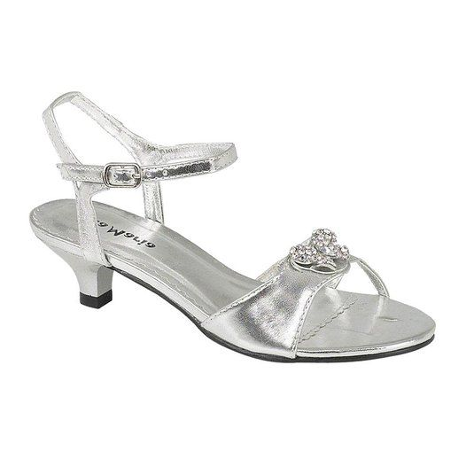 Onlineshoe S Low Heel Wedding Bridesmaid Party Silver Diamante Shoes Sandals 8 2 In