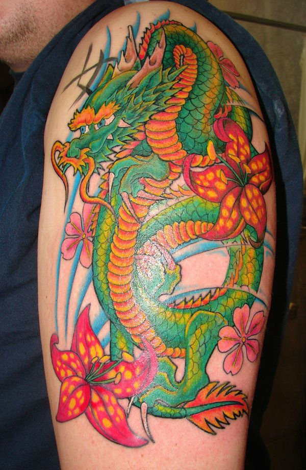 Japanese Dragon Tattoo By Asussman On Deviantart Dragon Tattoo Japanese Tattoo Art Colorful Sleeve Tattoos