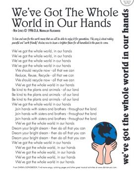 This Is A Lyric Sheet To The Earth Day Anthem We Ve Got The Whole World In Our Hands That Has Been Used Earth Day Song Music Activities For Kids
