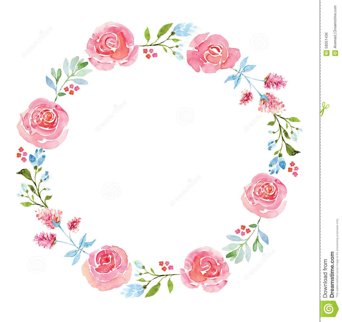 Beautiful Flower Watercolor Wreath Stock Illustration Image Tags