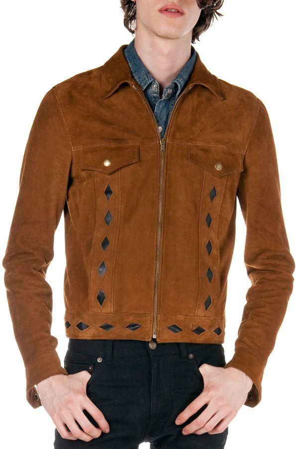 Saint Laurent Diamond Cutout Suede Jacket Brown Suede Jacket Men Suede Jacket Jackets