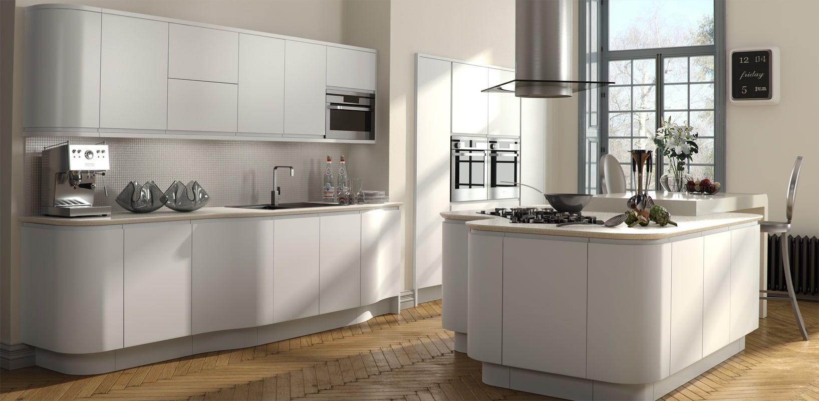 Best Fully Integrated Cabinet Detail Slab Doors Matte White 400 x 300