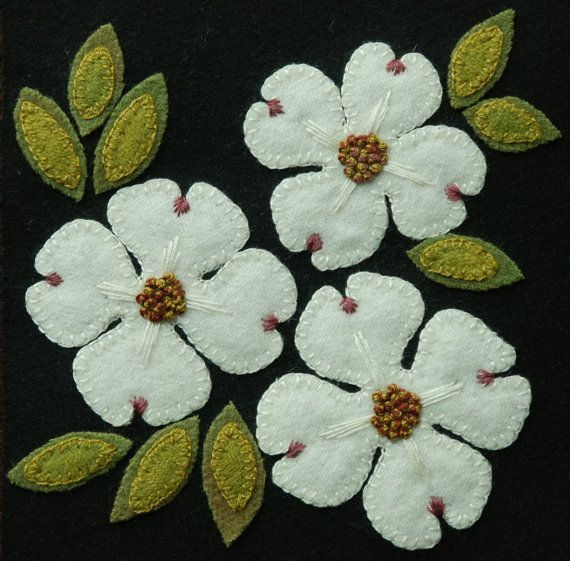 """Wool applique BOM PATTERN &/or KIT """"Dogwood"""" 6×6 block 1 of 24 in """"Four Seasons of Flowers"""" folk wool quilt wall hanging table bed runner"""