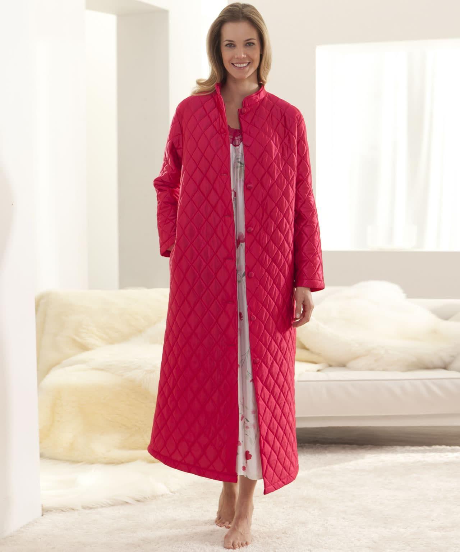 770d2c0b5c1 Robe de chambre matelassée en satin. - Bois De Rose - Femme - Damart ...
