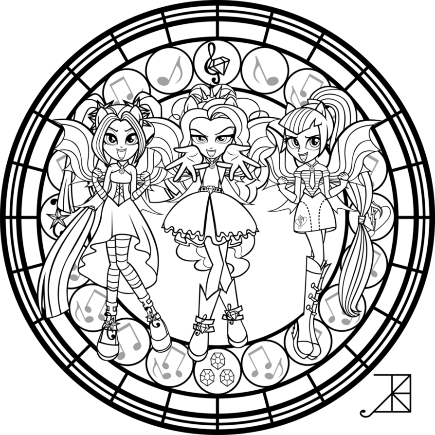 My Little Pony Dazzlings Coloring Pages. SG  Dazzlings coloring Page by Akili Amethyst pages