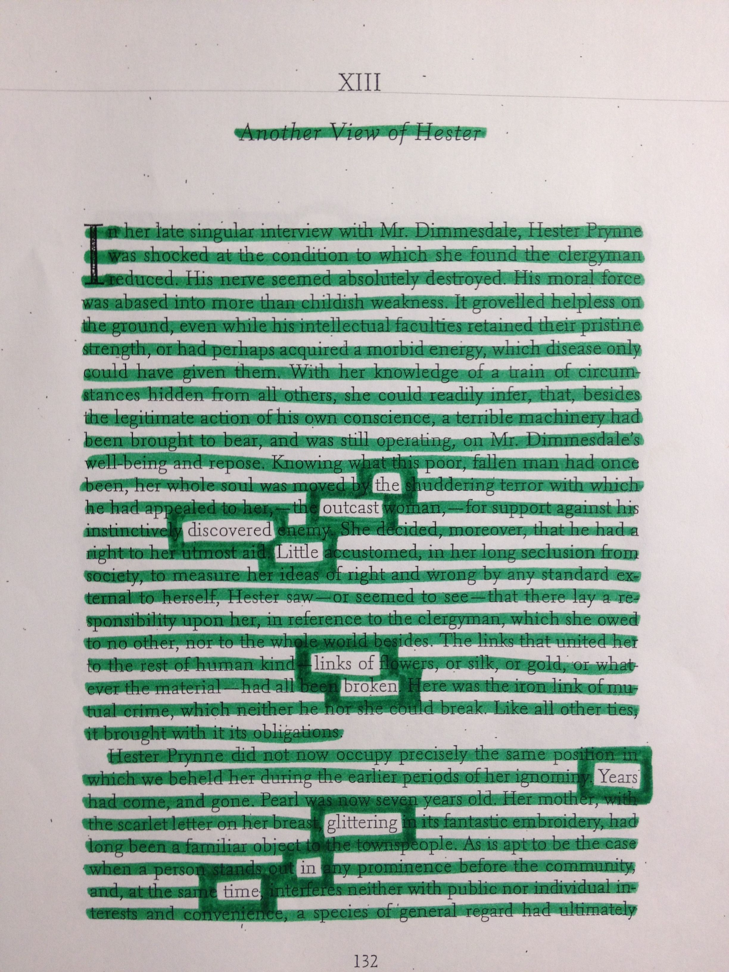 The Scarlet Letter  Blackout Poetry  In Class Assignment Using