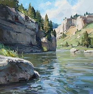 Smith River Summer by Josh Elliott Oil ~ 16 x 16