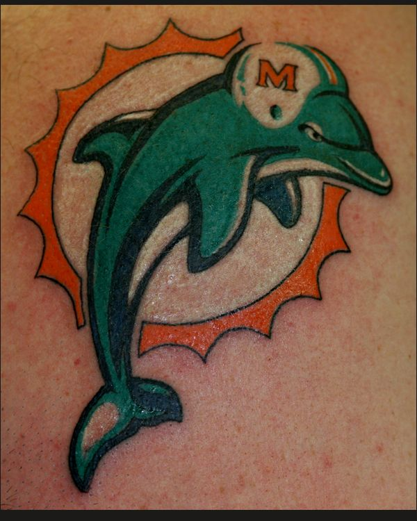 Miami Dolphins Tattoo : miami, dolphins, tattoo, Tattoo, Miami, Dolphins, Tattoo,, Logo,, Raiders, Tattoos