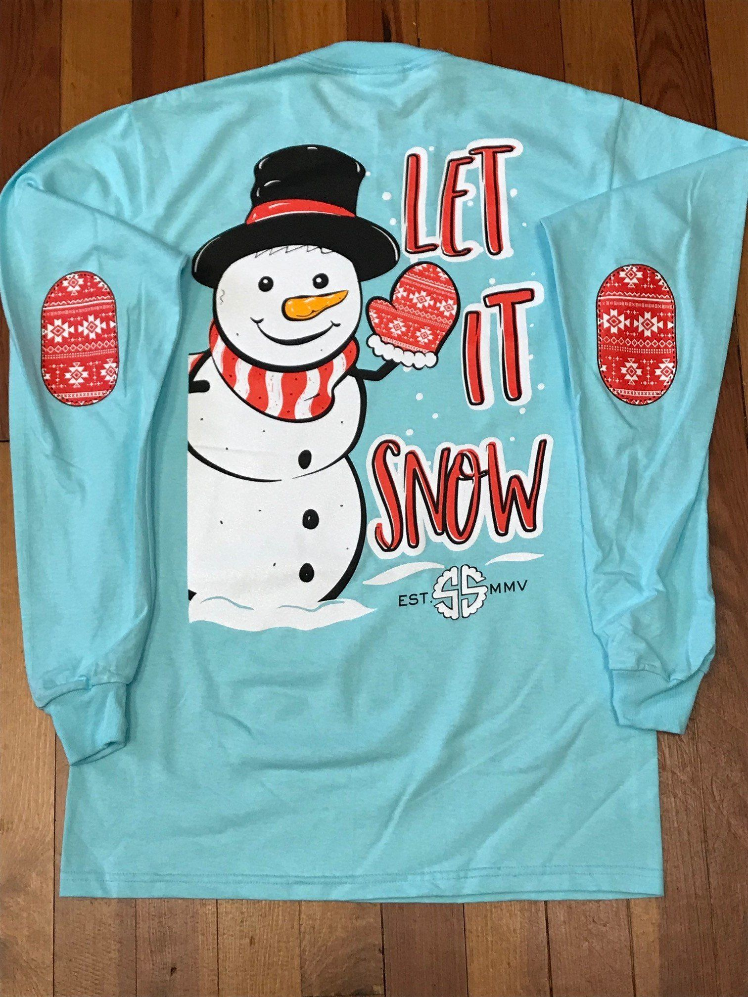 edfc3a02d Let It Snow Glitter Snowman Long Sleeve Tee | Products | Long sleeve ...
