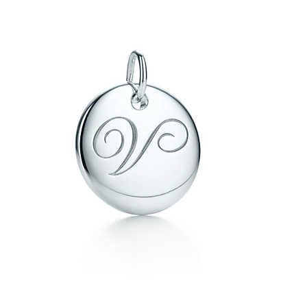 Tiffany Notes alphabet disc charm in silver, small. Letters A-Z available.