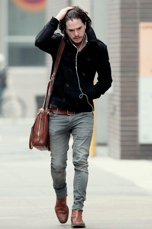 Kit Harington wearing Black Pea Coat, Grey Skinny Jeans, Brown ...