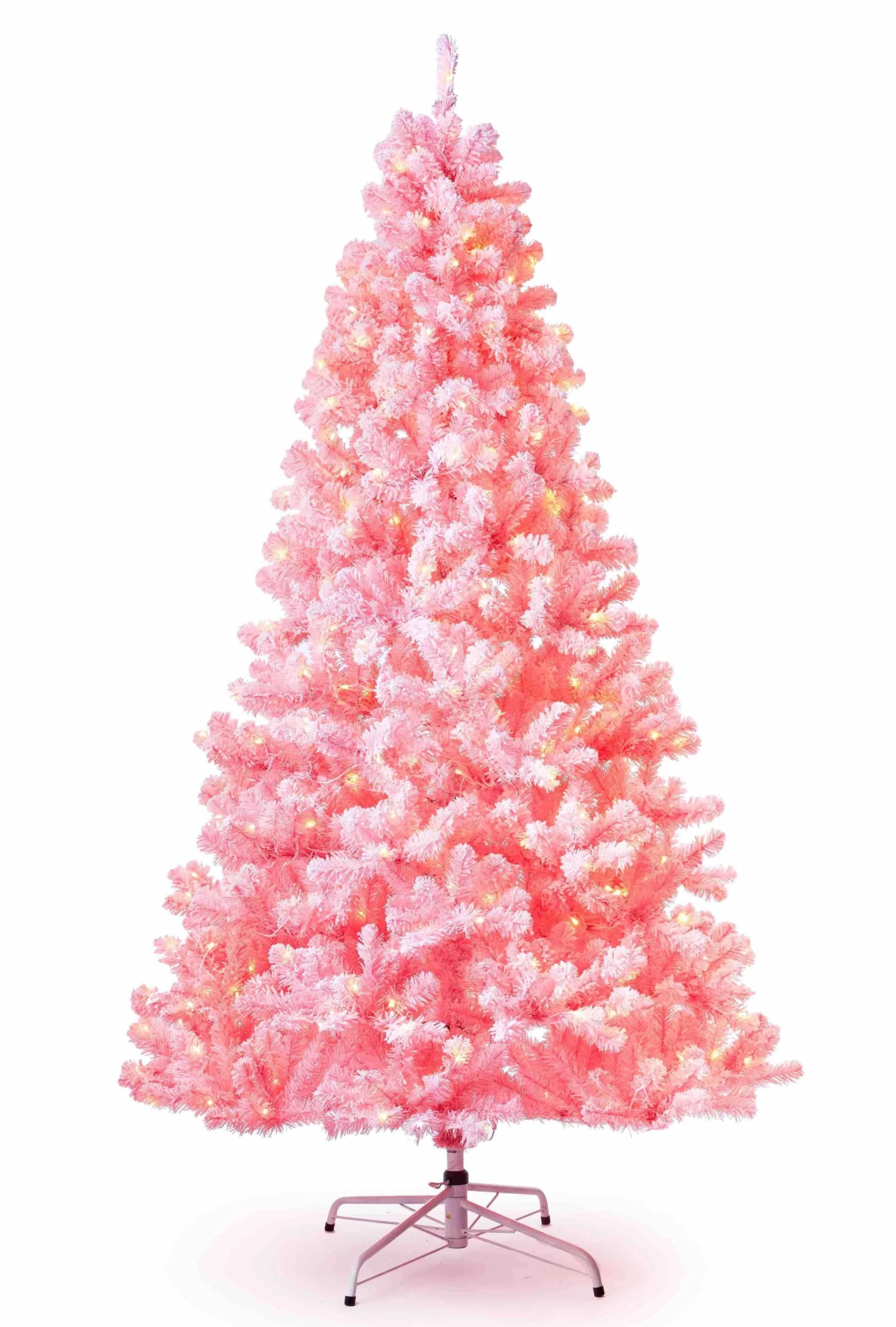7 5 Duchess Pink Flock Artificial Christmas Tree With 600 Warm White Led Lights In 2020 Flocked Artificial Christmas Trees Tinsel Christmas Tree Pink Xmas