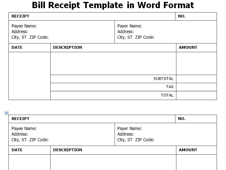 Get Bill Receipt Template In Word Format | WordTemplateInn  Bill Receipt Format