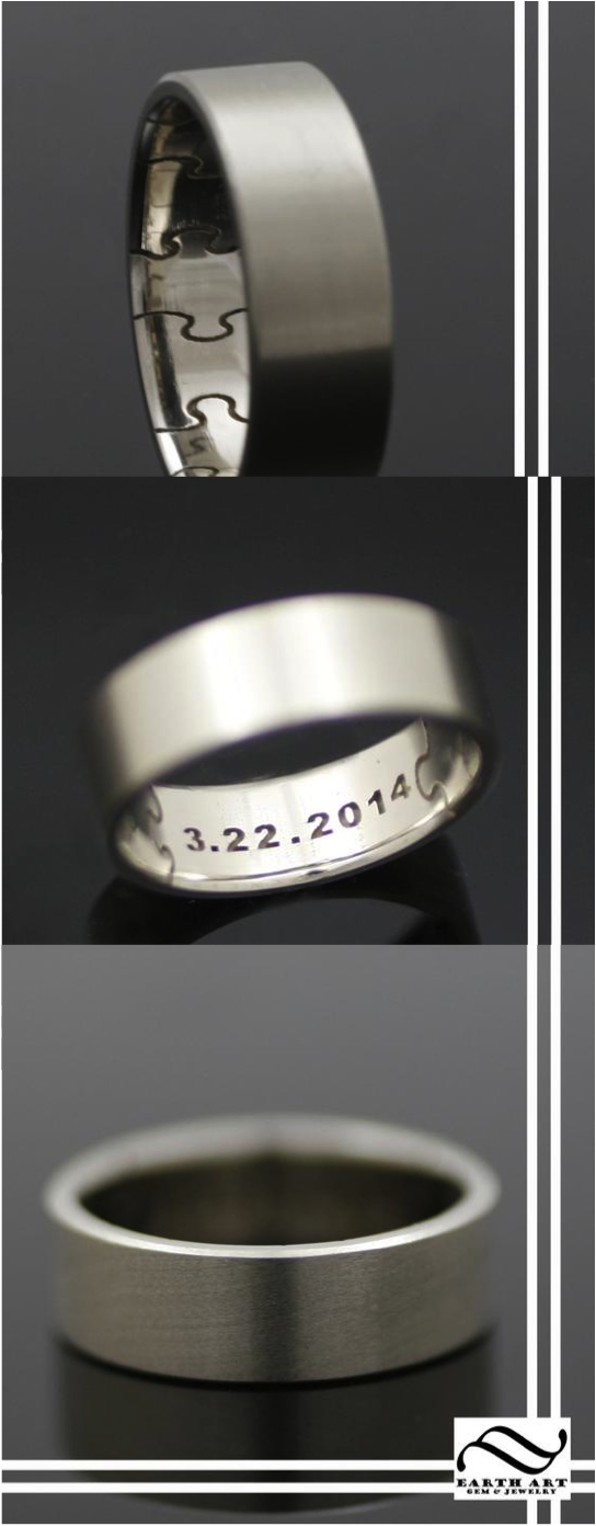 This Handsome Ring Makes An Excellent Wedding Band Or Remembrance The Outside Of Is Finished With A Smooth Satin Finish Which Inside