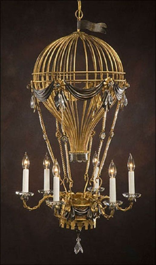 Chandelier Hot Air Balloon Swarovski Crystals 6 Light Wrought Iron
