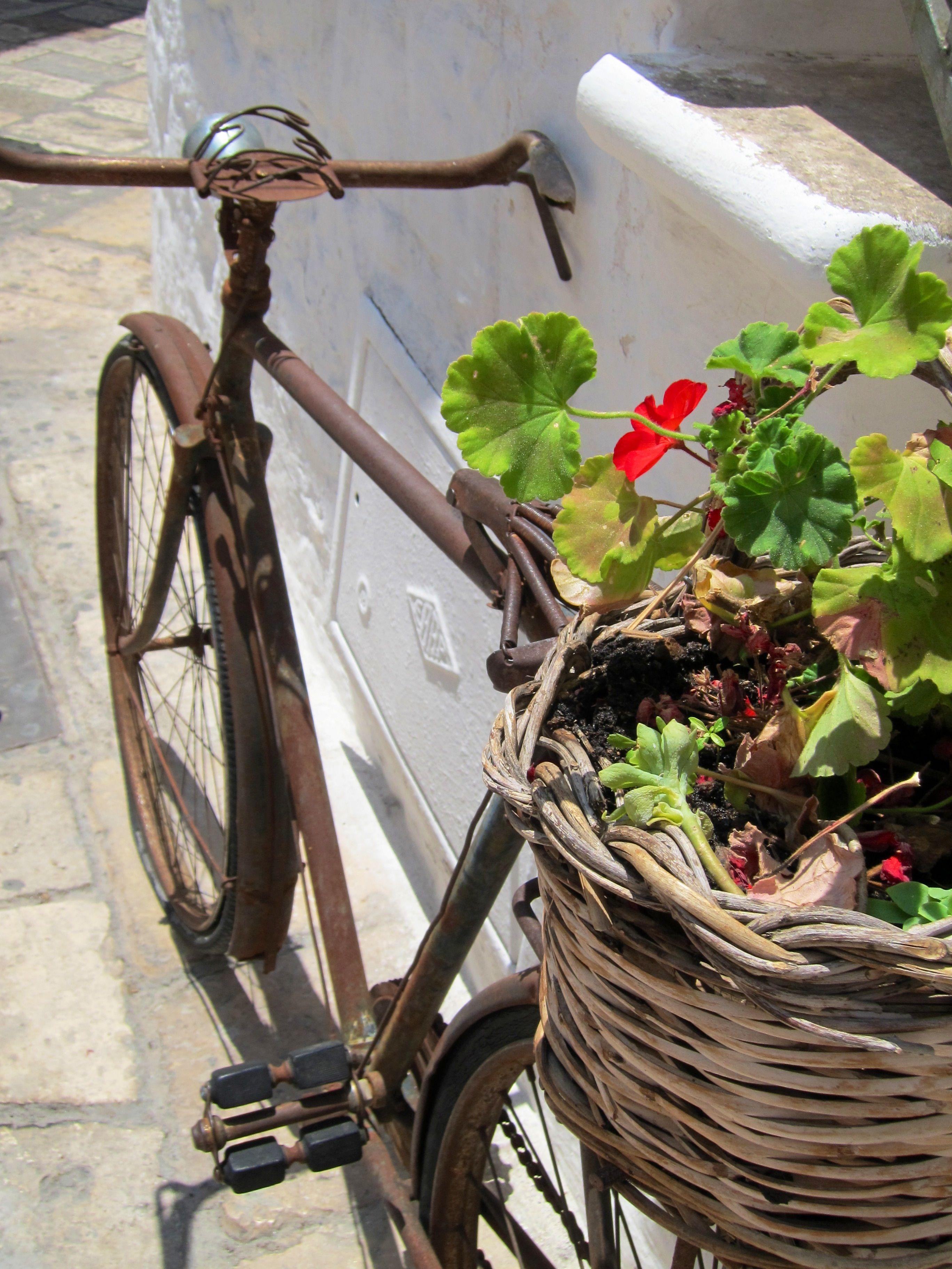 Rusty bike seen in Ostuni (the town with white houses in Salento) Puglia