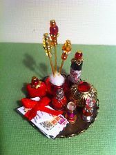 Dollhouse Miniature Mail Red Vanity Perfume Tray by Piera 1:12 Scale