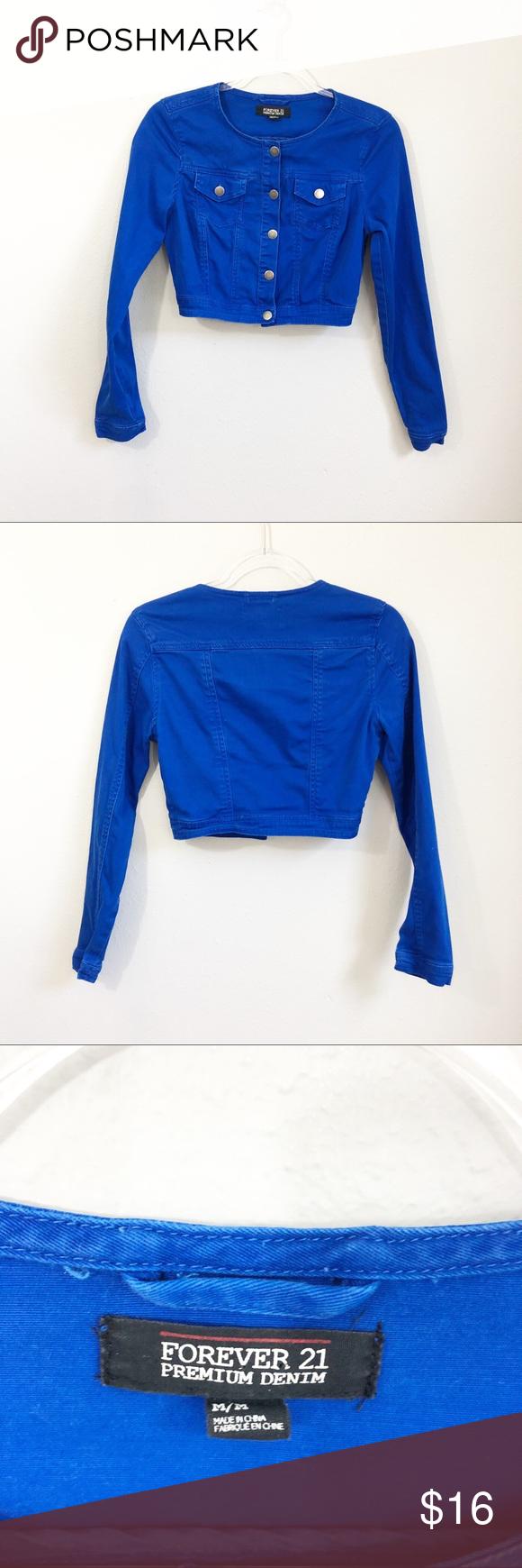 Forever 21 Royal Blue Denim Cropped Jacket Crop Jacket Blue Denim Cropped Denim Jacket [ 1740 x 580 Pixel ]