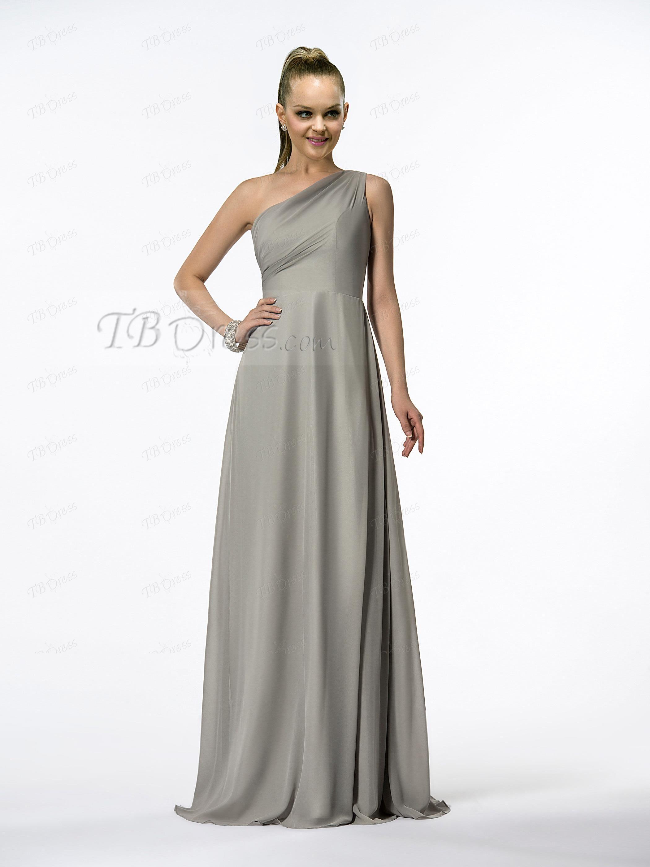 Elegant ALine OneShoulder FloorLength Evening Dress