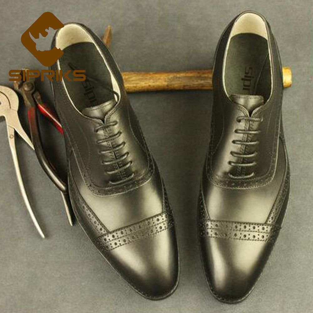 Shoes Sipriks Luxury Black Python Shoes For Men Italian Bespoke Goodyear Welted Dress Shoes Leather Sole Snake Skin Shoes Men Oxfords Men's Shoes