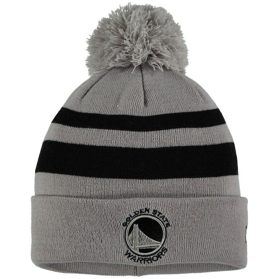 6b2e115bde0 Men s Golden State Warriors New Era Gray Black Rebound Cuffed Knit Hat with  Pom