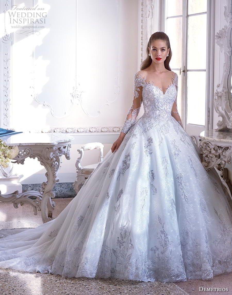 30fad451f28 demetrios 2019 bridal long sleeves sweetheart neckline full embellishment  romantic princess blue ball gown a line wedding dress sheer button back  chapel ...