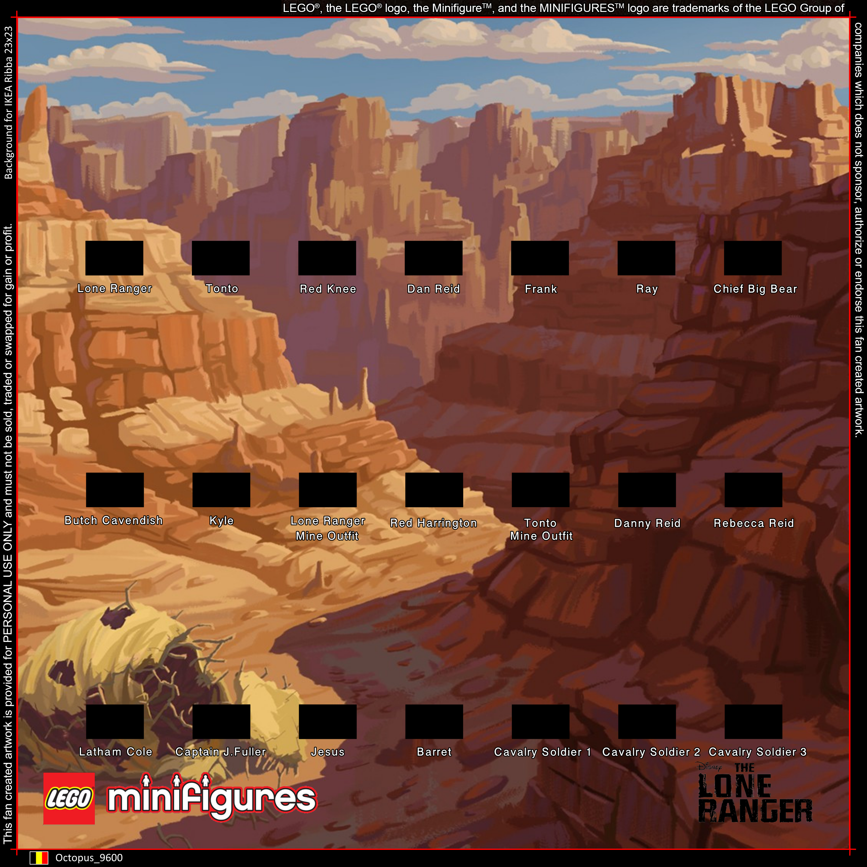 LEGO The Lone Ranger Minifigures Background for IKEA Ribba 23x23 ...