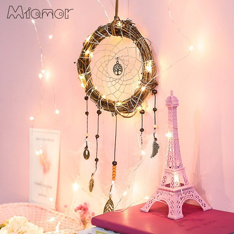 Handmade Rattan Circle Dream Catcher Net With White Feathers Tree Of Life Wedding and Bar and Home Wall Hanging Dreamcatcher AMOR080. #Handmade #Rattan #Circle #Dream #Catcher #With #White #Feathers #Tree #Life #Wedding #Home #Wall