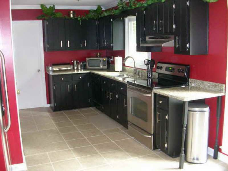 The Right Ideas For The Dark Painted Kitchen Cabinets With Red Wall
