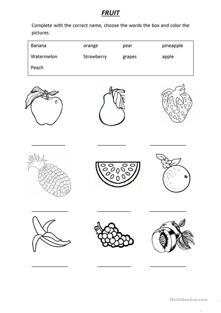 Vocabulary Fruit With Images English Worksheets For Kids