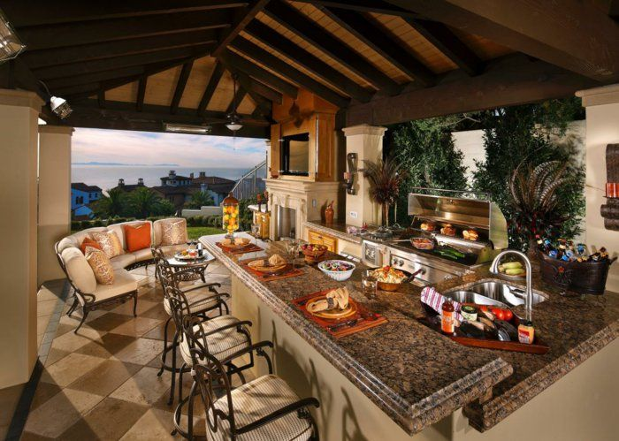 außenküche selber bauen kücheninsel marmor platte spüle grill ...
