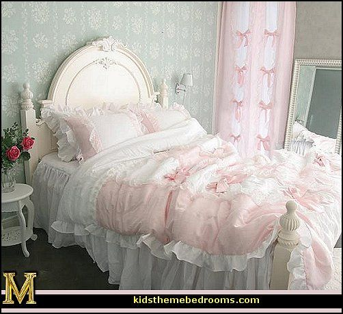 Victorian Decorating ideas   Vintage decorating   Victorian Boudoir    Romantic Victorian Bedroom Decor   lace and ruffles bedding   floral  bedding. You can design a bedroom filled with these ideas with the French