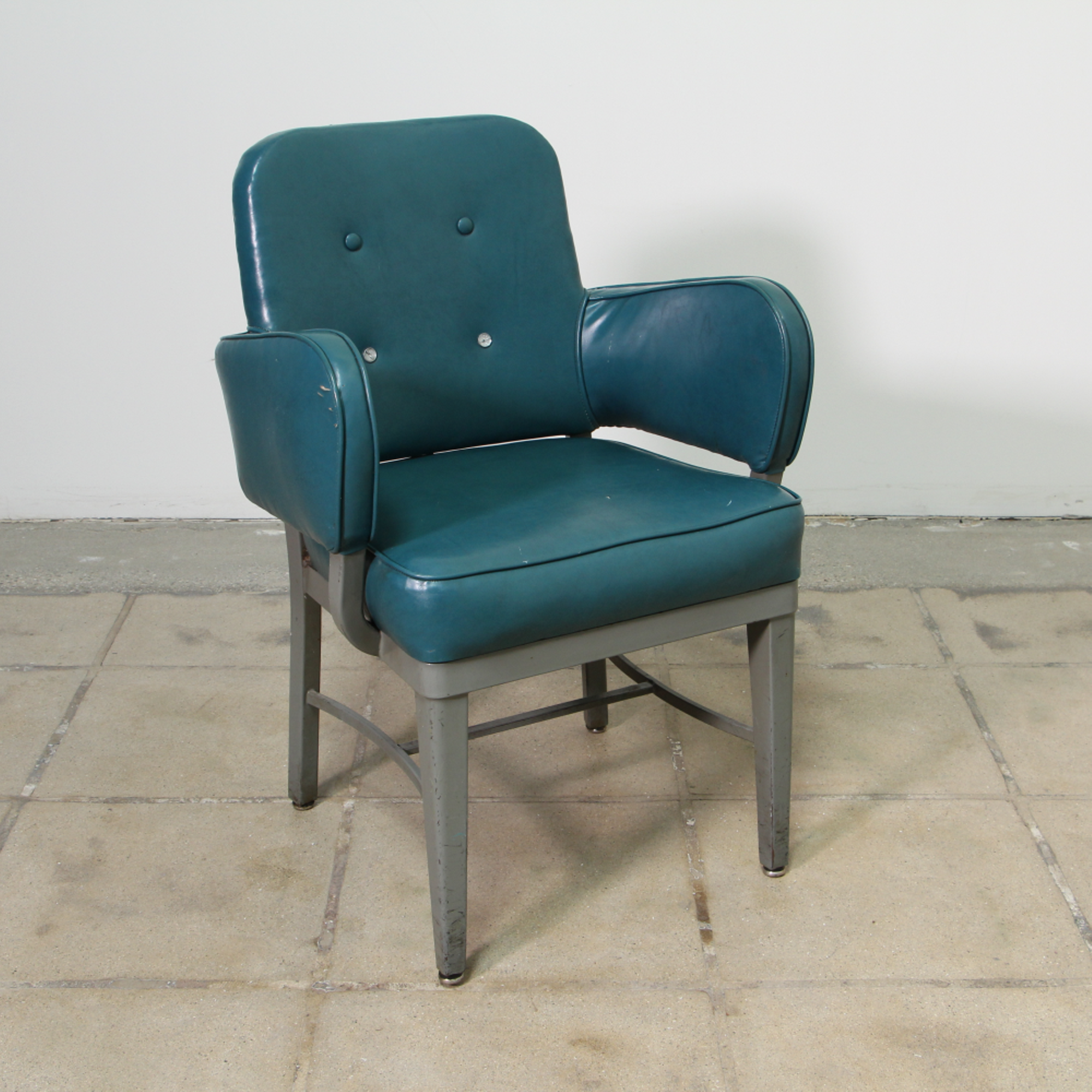 This Industrial Armchair Is Featured In A Durable Metal With A Distressed  Gray Paint Finish. This Chair Is In Great Condition With Tapered Legs, ...