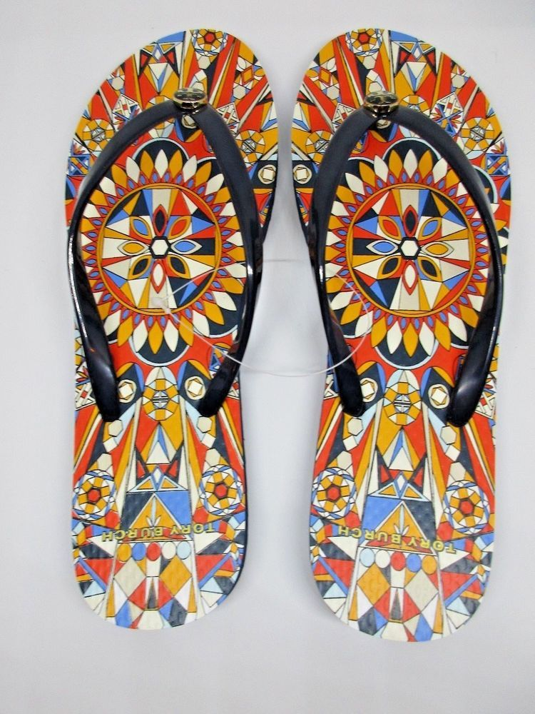 48a528a7c3d9b6 Tory Burch Navy Psychedelic Geo Flip Flops womens size 9 NEW no box   ToryBurch  FlipFlops  Summer