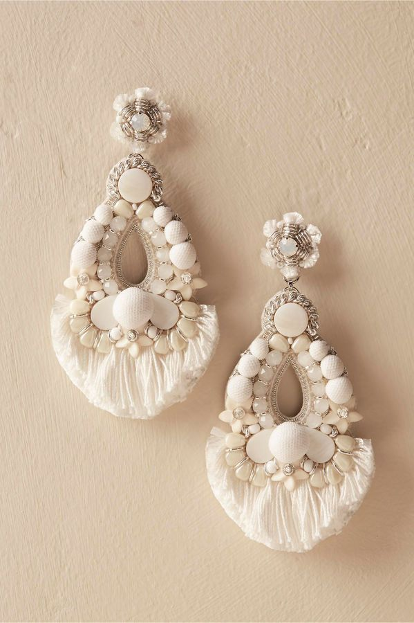 Earrings Statement White Summer Festival Wear Style