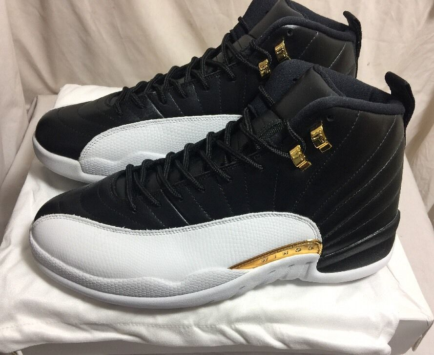 Nike Air Jordan XII 12 Retro WINGS SZ 12 Black White Gold Playoffs 848692- 033