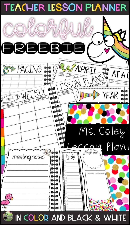 Colorful Teacher Lesson Planner FREEBIE