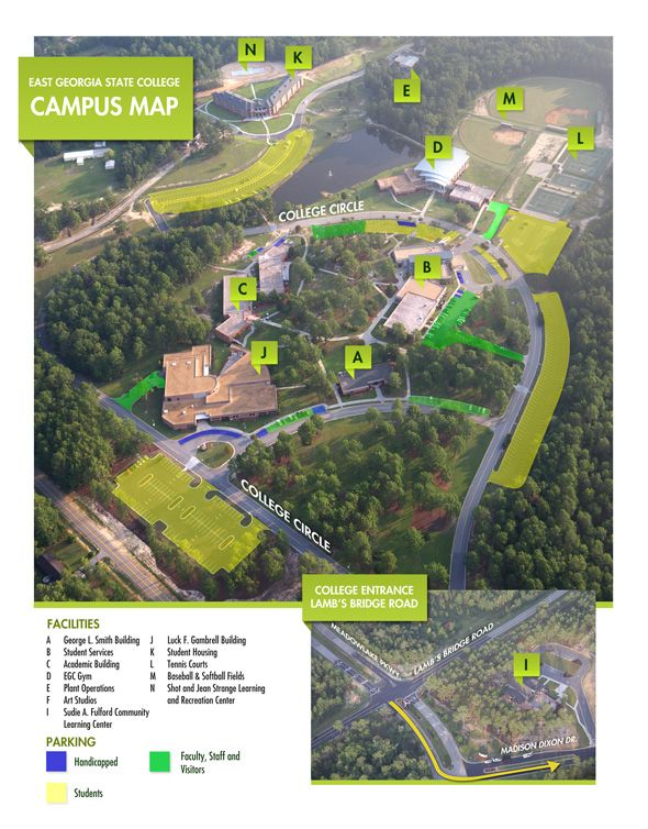 Map Of East Georgia.Campus Map East Georgia State College University System Of