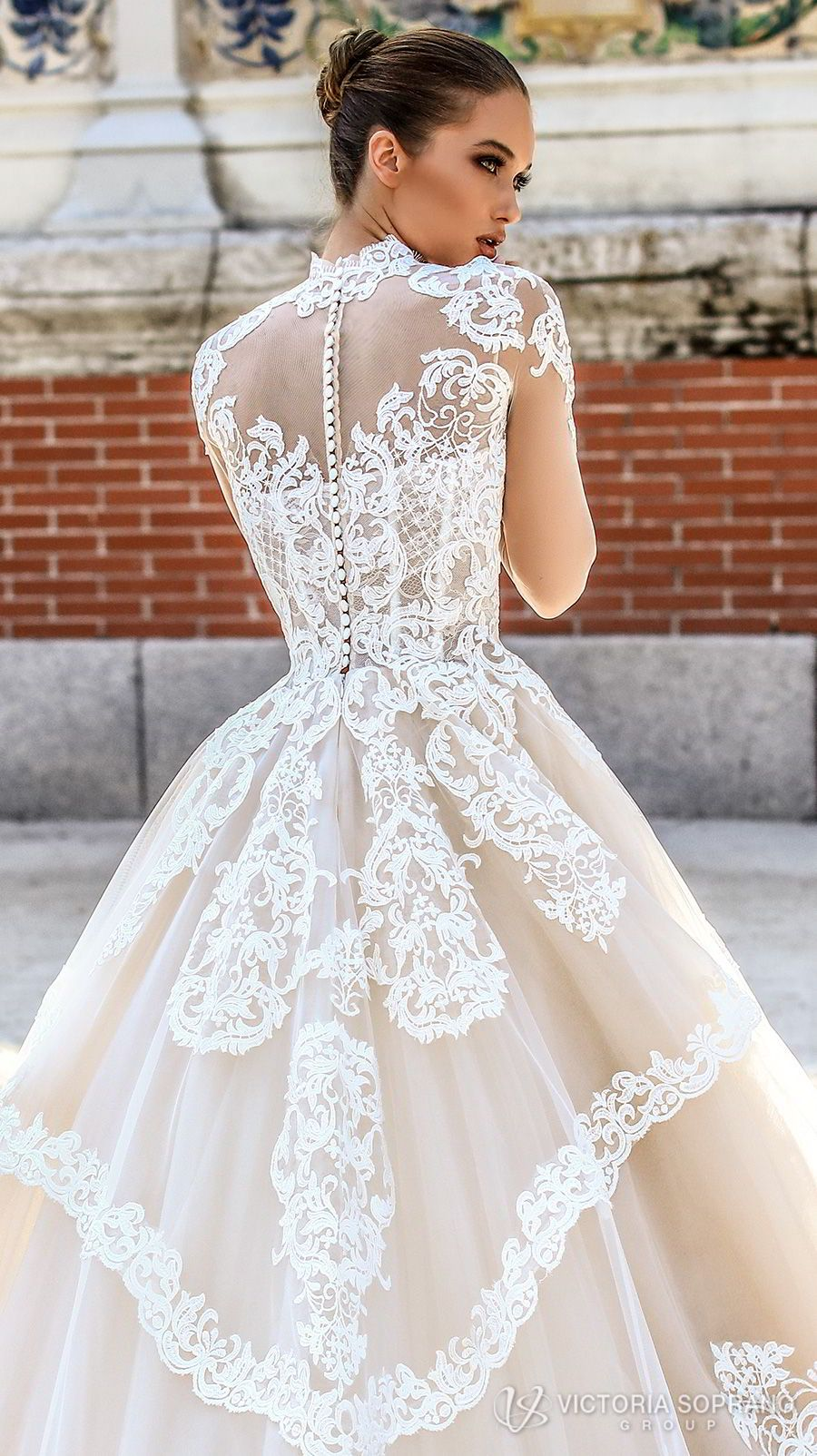 b1bbfa9aa186e victoria soprano 2018 bridal long sleeves illusion high neck sweetheart  neckline heavily embellished bodice princess a line wedding dress sheer  lace back ...