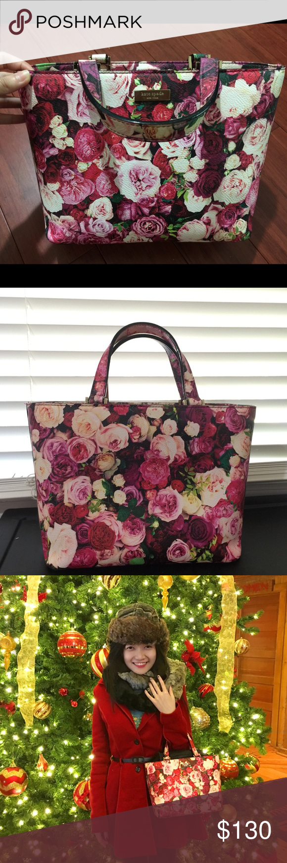"""KATE SPADE STREET JULES FLORAL TOTE BAG 12"""" h x 15.6""""/ 18.75 w x 6.2"""" d drop length: 9""""  ------- In very good condition ------- 14k gold Kate Spade new york staple. kate spade Bags Totes"""